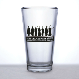 pint glass with logo